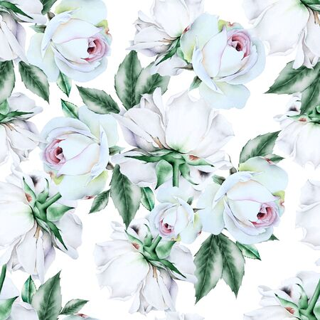 Bright seamless pattern with flowers. Rose. Watercolor illustration. Hand drawn. Stockfoto