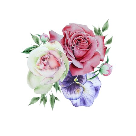 Watercolor bouquet with flowers and  leaves.  Illustration. Hand drawn.