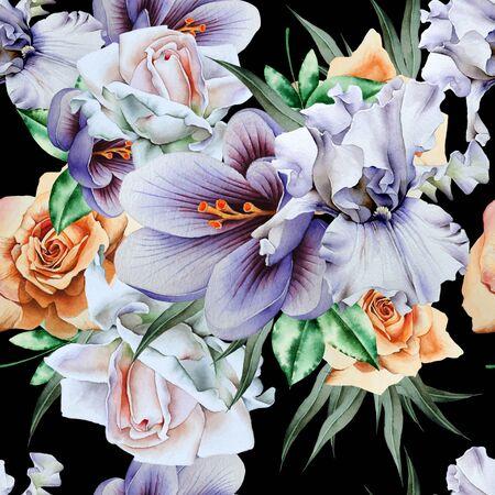 Bright seamless pattern with flowers. Iris. Crocus. Rose. Watercolor illustration. Hand drawn. Redakční
