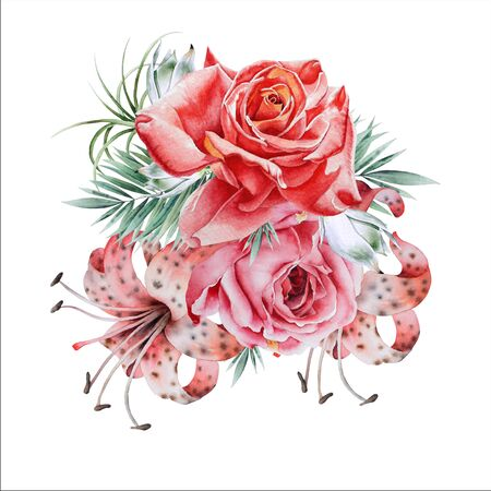 Watercolor bouquet with flowers. Rose Lily. Illustration. Hand drawn.