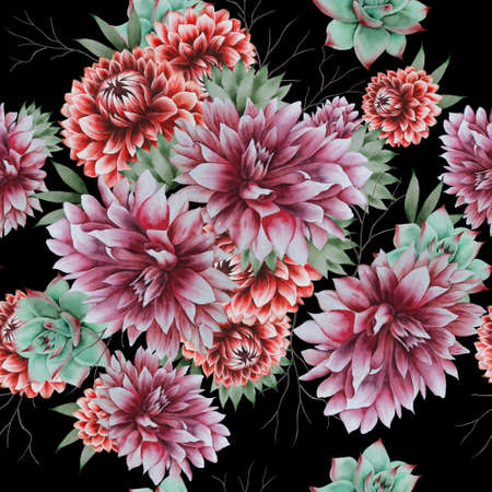 Bright seamless pattern with flowers. Dahlia. Succulents. Watercolor illustration. Hand drawn.