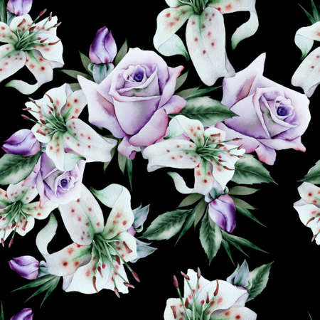 Bright seamless pattern with flowers. Rose Lily. Watercolor illustration. Hand drawn.