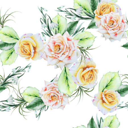 Bright seamless pattern with flowers. Rose Snowdrops.Watercolor illustration. Hand drawn.