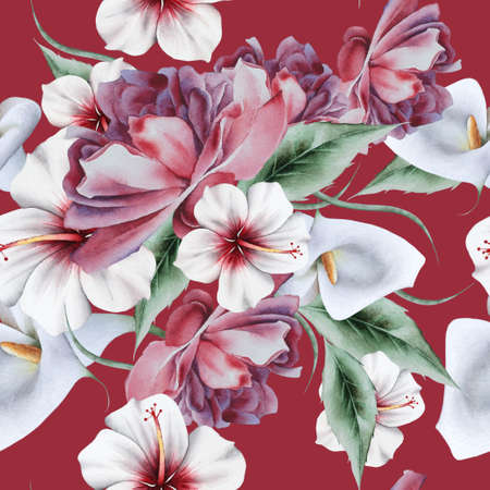 Bright seamless pattern with flowers. Rose Calla Hibiscus. Watercolor illustration. Hand drawn.