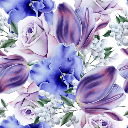 Bright seamless pattern with flowers. Rose Tulip. Watercolor illustration. Hand drawn.