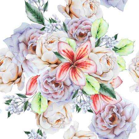 Bright seamless pattern with flowers. Rose Plumeria. Watercolor illustration. Hand drawn.