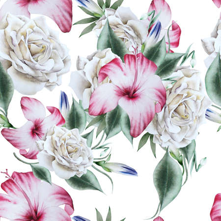 Bright seamless pattern with flowers. Rose Hibiscus. Watercolor illustration. Hand drawn.