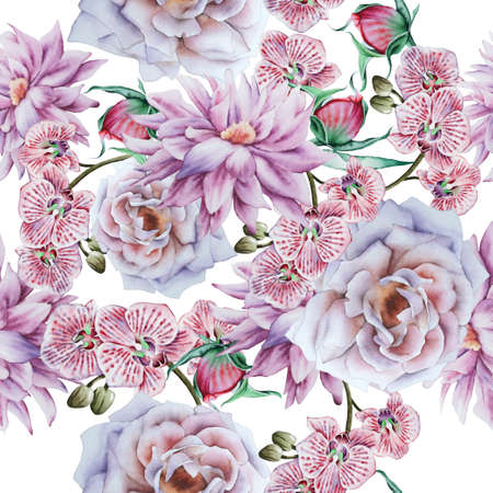 Bright seamless pattern with flowers. Rose Peony. Orchid. Watercolor illustration. Hand drawn.