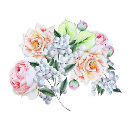 Watercolor bouquet with flowers. Illustration. Hand drawn.