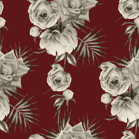 Bright seamless pattern with flowers. Rose Peony. Watercolor illustration. Hand drawn.