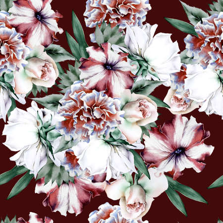Bright seamless pattern with flowers. Rose Peony. Petunia. Watercolor illustration. Hand drawn. 写真素材