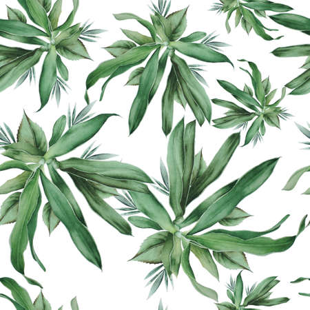 Bright seamless pattern with leaves. Watercolor illustration. Hand drawn. 写真素材