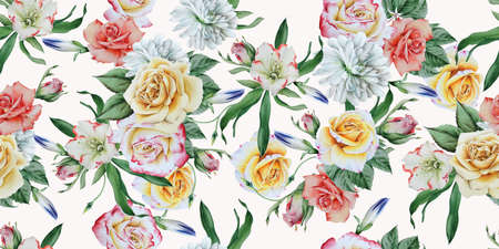 Beautiful watercolor seamless pattern with chrysanthemum, peony and rose. Illustration. Hand drawn. 写真素材
