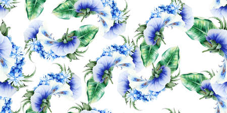 Beautiful watercolor seamless pattern with flowers. Illustration. Hand drawn. 写真素材