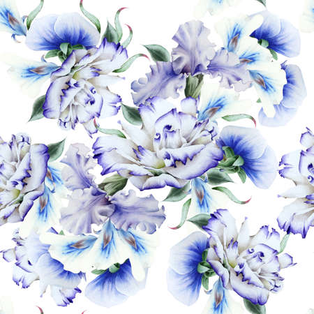 Bright seamless pattern with flowers. Iris. Eustoma. Watercolor. Hand drawn. 写真素材