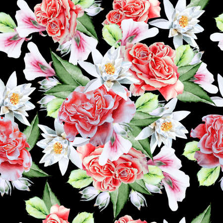 Bright seamless pattern with flowers. Watercolor illustration. Rose Lily. Hand drawn.