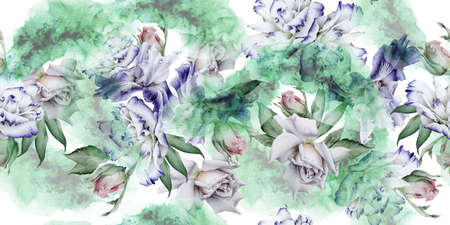 Bright seamless pattern with flowers. Rose Eustoma. Iris. Watercolor illustration. Hand drawn.