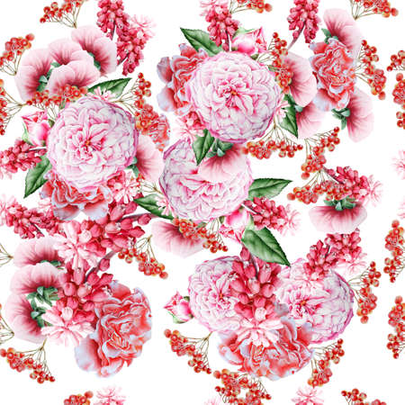 Bright seamless pattern with flowers. Watercolor illustration. Hand drawn.