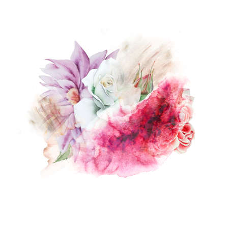 Watercolor bouquet with flowers. Rose Peony. Illustration. Hand drawn. 写真素材