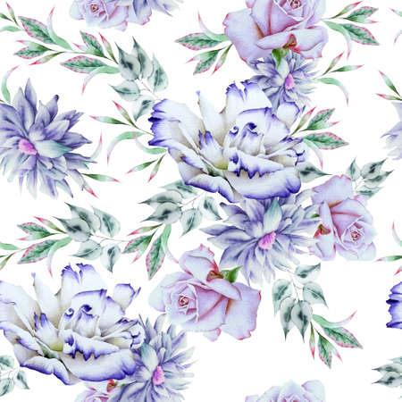 Bright seamless pattern with flowers. Watercolor illustration. Rose Peony. Eustoma. Hand drawn. 写真素材