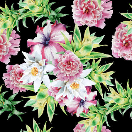 Bright seamless pattern with flowers. Lily. Petunia. Bromeliad. Peony. Watercolor illustration. Hand drawn.