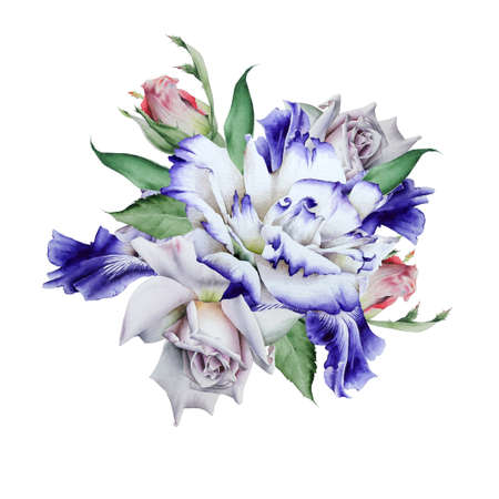 Watercolor bouquet with flowers. Rose Eustoma. Illustration. Hand drawn.