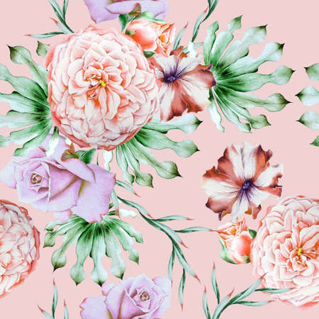Bright seamless pattern with flowers. Rose Petunia. Peony. Watercolor illustration. Hand drawn. 写真素材