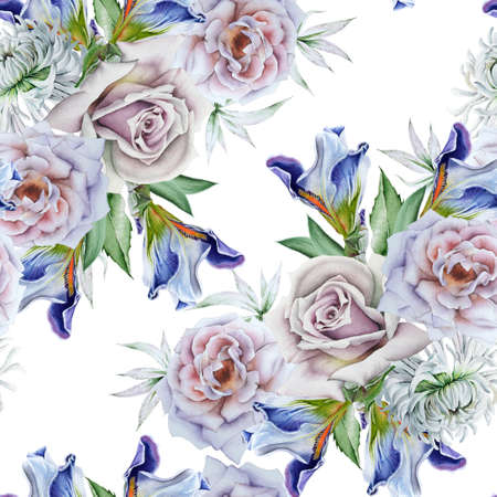 Bright seamless pattern with flowers. Rose Iris. Watercolor illustration. Hand drawn.