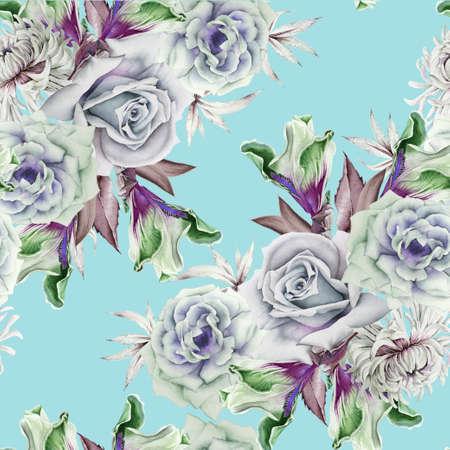 Bright seamless pattern with flowers. Rose Iris. Chrysanthemum. Watercolor illustration. Hand drawn. 写真素材