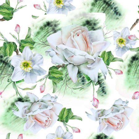 Bright seamless pattern with flowers. Watercolor illustration. Rose Narcissus Hand drawn. 写真素材