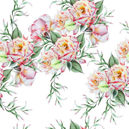 Bright seamless pattern with flowers. Rose Watercolor illustration. Hand drawn. Фото со стока