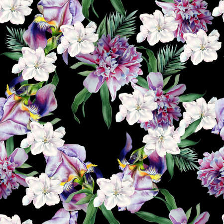 Bright seamless pattern with flowers. Iris. Peony. Watercolor illustration. Hand drawn.