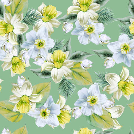Bright seamless pattern with flowers. Narcissus. Yucca. Hand drawn.