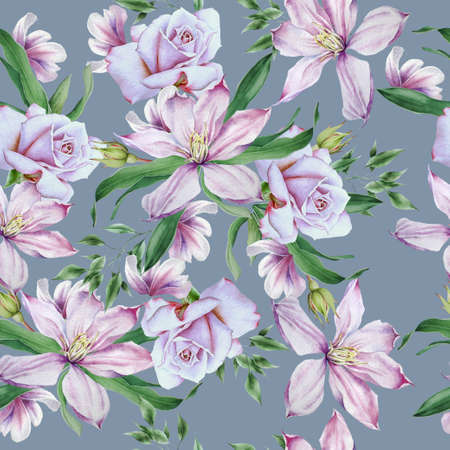 Bright seamless pattern with flowers. Clematis. Rose. Hand drawn. 版權商用圖片