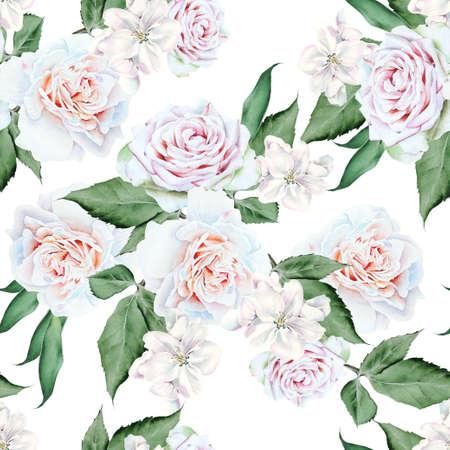 Bright seamless pattern with flowers. Rose. Hand drawn. 版權商用圖片