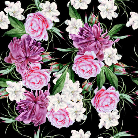 Bright seamless pattern with flowers. Peony. Rose. Hand drawn. 写真素材 - 159485960