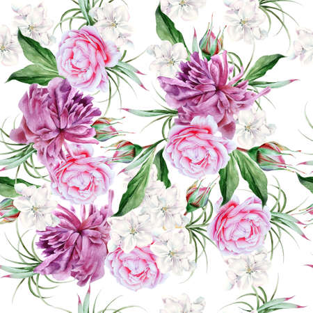 Bright seamless pattern with flowers. Peony. Rose. Hand drawn.