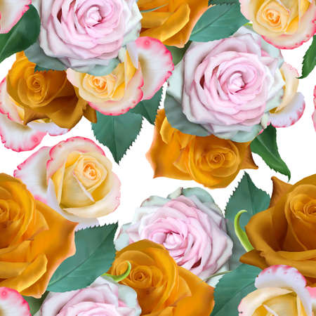 Bright seamless pattern with flowers. Rose. Hand drawn. 写真素材