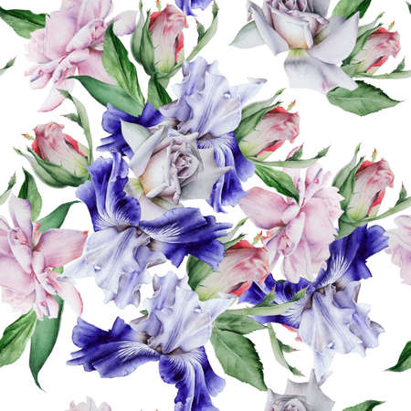 Bright seamless pattern with flowers. Iris. Rose. Hand drawn. 版權商用圖片