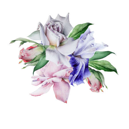 Watercolor bouquet with flowers. Rose. Iris. Illustration. Hand drawn.