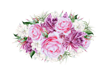 Watercolor bouquet with flowers. Rose. Peony. Illustration. Hand drawn. 版權商用圖片