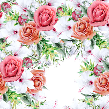 Bright seamless pattern with flowers. Peony. Hibiscus. Bromeliad. Hand drawn.