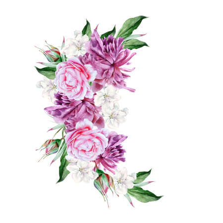 Watercolor bouquet with flowers. Rose. Peony. Illustration. Hand drawn. 写真素材 - 159060208