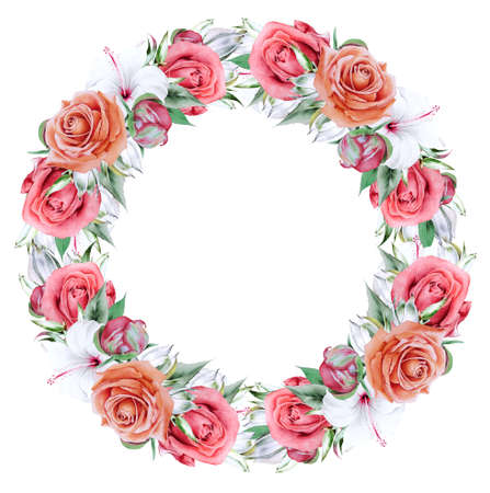 Floral watercolor wreath with hibiscus and rose. Illustration. Hand drawn.