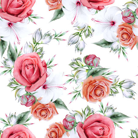 Bright seamless pattern with flowers. Peony. Hibiscus. Yucca. Hand drawn. 写真素材