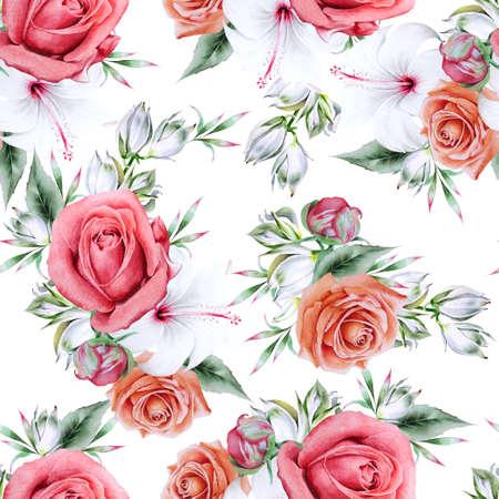 Bright seamless pattern with flowers. Peony. Hibiscus. Yucca. Hand drawn. 版權商用圖片