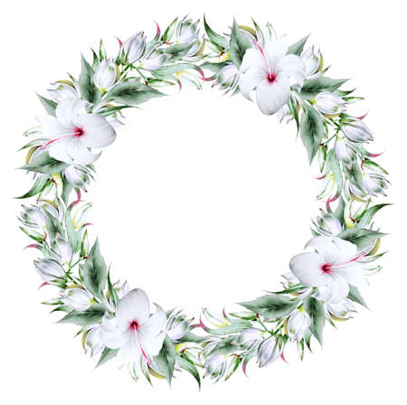 Floral watercolor wreath with hibiscus and yucca. Illustration. Hand drawn.