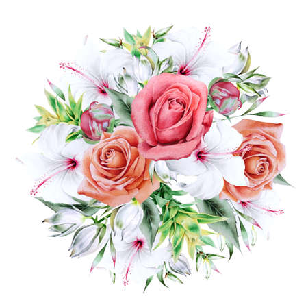 Watercolor bouquet with flowers. Rose. Hibiscus. Bromeliad. Illustration. Hand drawn.