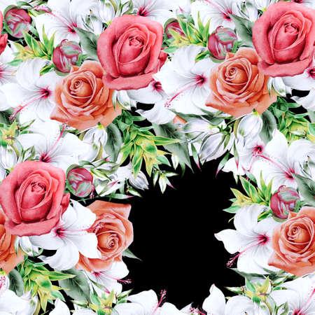 Bright seamless pattern with flowers. Peony. Hibiscus. Bromeliad. Hand drawn. 写真素材 - 159485967