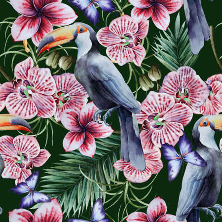 Tropical seamless pattern with birds leaves and flowers. Tucan. Orchid. Watercolor illustration. Hand drawn.